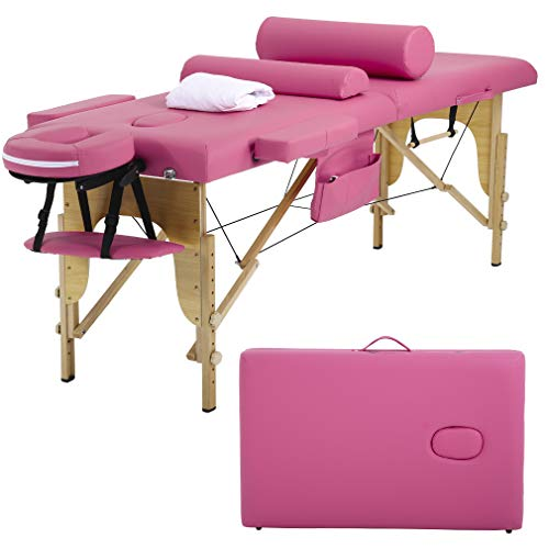 Massage Table Massage Bed Spa Bed Height Adjustable Portable 2 Folding 73 Inches Massage Salon Table W/Sheet Cradle Bolster Hanger Facial Salon Tattoo Bed ()