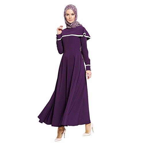 Hzjundasi Turkey Lange Ärmel Robe Saudi Middle East Gown islamisch Dubai Kirche Gebet Kleid Muslim Malaysia Cocktail Abaya Ethnische Kaftan Robe Violett d2kX6S4R