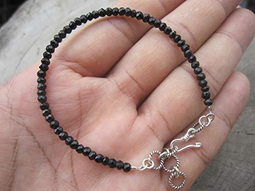 Tribe Silver 3mm (Black Tourmaline Bracelet,Bead Size 3 mm,Karen hill tribe silver extender 1 inch, Size - 6,6.5,7,7.5,8,8.5)