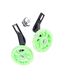 LIOOBO 2PCS 14 Inch Children's Bicycle Accessories -Auxiliary Wheel -With bell(Green)