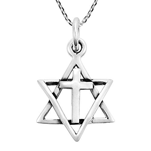 Star Pendant Angelic (AeraVida Uniquely Beautiful Star of David & Cross .925 Sterling Silver Pendant Necklace)
