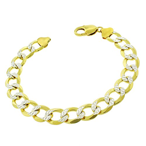 Sterling Silver Italian 10.5mm Cuban Curb Link Diamond Cut Two-Tone Pave ITProLux Solid 925 Yellow Gold Bracelet Chain 9