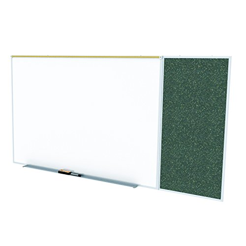 Ghent Style C 4 x 16 Feet Combination Board, Porcelain Magnetic Whiteboard and Recycled Rubber Bulletin Board, Confetti , Made in the USA by Ghent