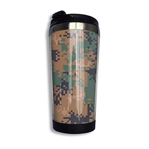 Pattonef Digital Woodland Camouflage Seamless Pattern Personalized Stainless Steel Insulated Coffee Mugs Cups Unisex Suitable for Work Or Travel