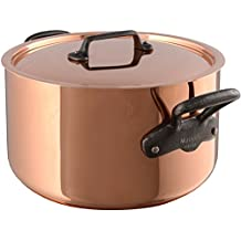 Mauviel 6545.02 M'Heritage M250C 2.5mm Copper Stewpan with Lid, 6.1 quart,