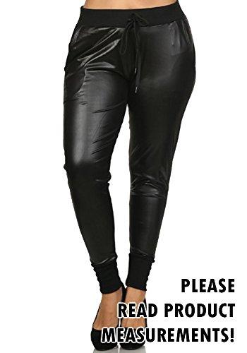 Women's Plus Size Faux Leather Skinny Pants Pockets Drawstring Waist Curvy (1X, Midnight Black)