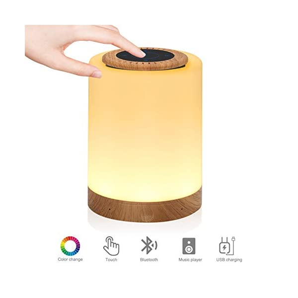 Touch Lamp Bluetooth Speaker,Portable LED Touch Sensor Table Lamp Dimmable Multi-Color Changing Night Light, MP3 Player, Handsfree Calls Bluetooth Speaker Support TF Carte Rechargeable 1