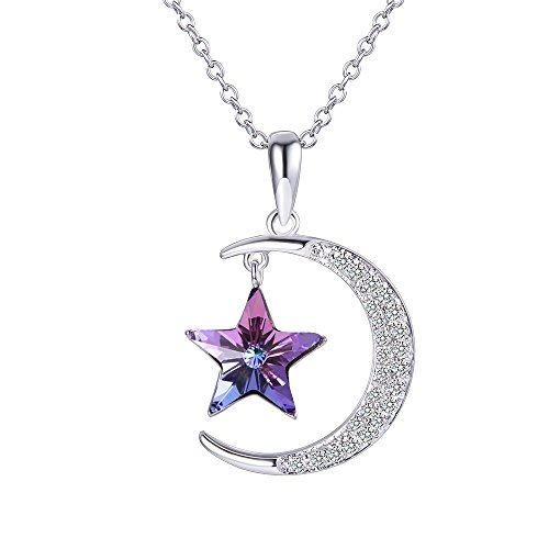 Xuping Moon and Star Jewelry Pendant Necklace Made with Crystals from Swarovski Women Christmas Black Friday GiftM4-41515(Light Purple)