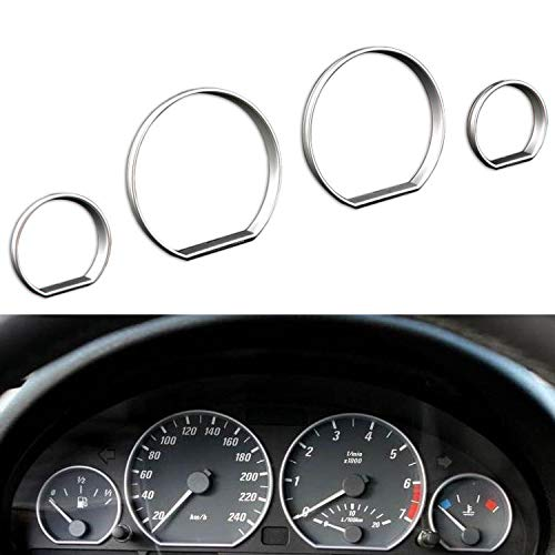 Gauge Dial Rings,4pcs Chrome Gauge Cluster Dashboard Bezel Ring Trim Dial Ring Bezel Speedometer Frame for BMW E46 1999-2006:
