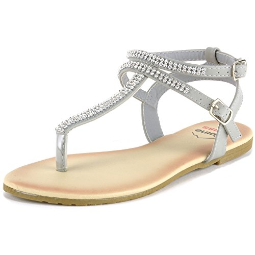 alpine swiss Womens Gray Slingback T-Strap Rhinestone Thong Sandals 9 M US