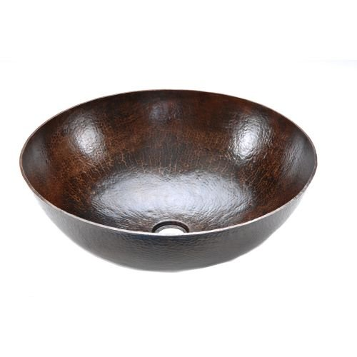 Premier Copper VR17BDB Single Basin Large Round Bathroom Vessel Sink, Oil Rubbed Bronze Finish by Premier Copper Products