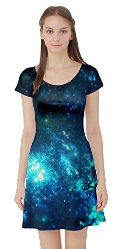 - CowCow Womens Shining Blue Star Short Sleeve Skater Dress, Blue - 3XL