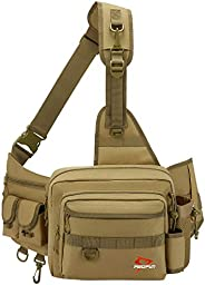 Piscifun Sling Fishing Tackle Bag Outdoor Fishing Storage Backpack Water-Resistant Fishing Bag Cross Body Slin