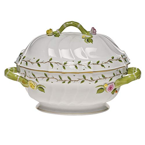 Herend Rothschild Garden Porcelain Tureen with Branch Handle