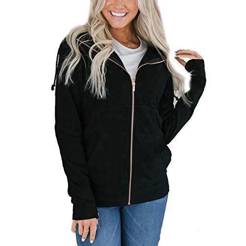 Black ZFFde con capucha mujer con Sudadera y Color L Sudadera larga con cremallera Invierno capucha y tamaño manga para capucha frqfxTCw
