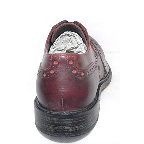 Bordeaux Scarpe Vintage Fondo Pelle Antiscivolo Stile Spazzolato Cuoio Stringate Casual Lacci Senza x4410