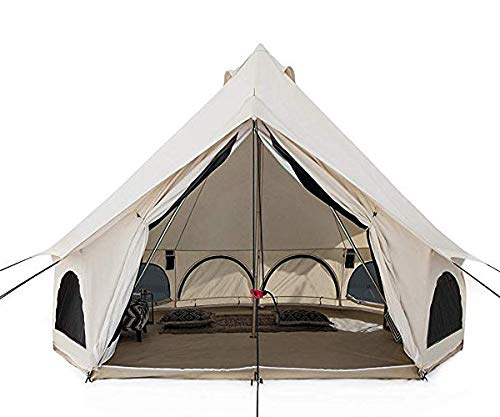 White Duck Outdoors Premium Avalon Canvas Bell Tent 13′, with Fire Water Repellent, Stove Jack, for All Season Camping & Glamping