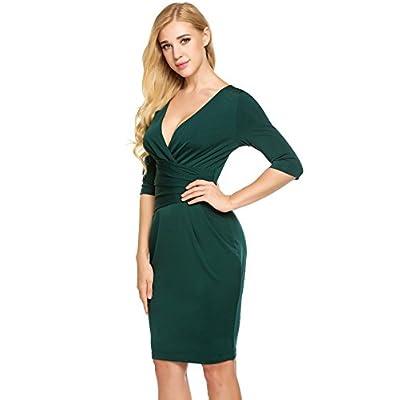 83ebe1d58b7 ACEVOG Women s Retro Business Wear to Work Bodycon Pencil Midi Dress ...