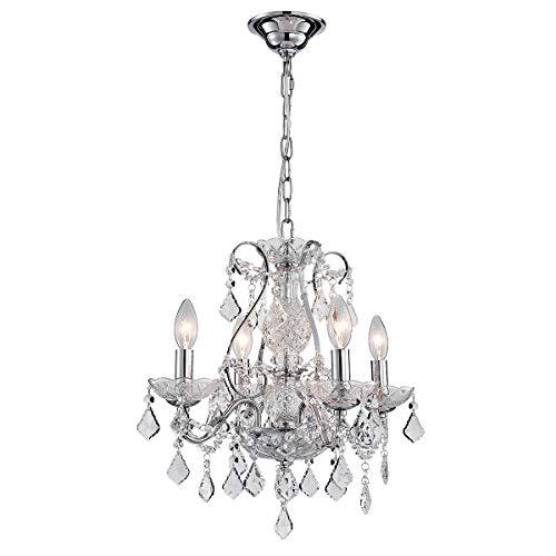 (ANJIADENGSHI Crystal Chandelier, Modern Luxurious Swirl Design Raindrop Ceiling Light Fixture with 6 Lights for Dining Room Livingroom Foyer Hotel Buliding Decor D19.7