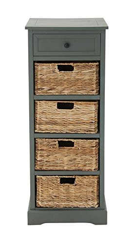 Deco 79 96182 Woodcraft Style Cabinet with 4-Vertical Wicker Baskets