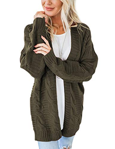 Omoone Women's Loose Casual Long Sleeve Solid Twisted Knitted Open Front Cardigan Sweater Coat (Navy Green, L)