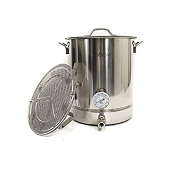 Gas One 10 gallon Stainless Steel Home Brew Pot Brew Kettle Set 40 Quart for Beer Brewing Includes Lid Ball valve Thermometer False bottom Mesh Tube tool Complete Kit
