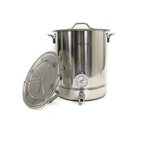 Gas One 10 gallon Stainless Steel Home Brew Pot Brew Kettle Set 40 Quart for Beer Brewing Includes Lid Ball valve Thermometer False bottom Mesh Tube tool Complete Kit by GasOne