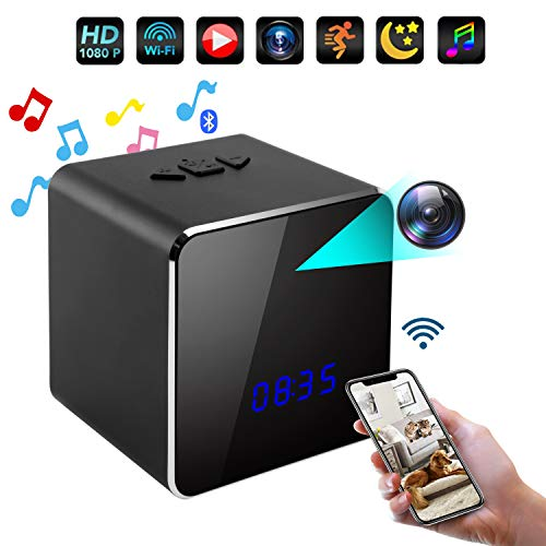 Spy Clock Hidden Camera in Bluetooth Speaker-Mini IP WiFi Camera HD 4K Nanny Cam Clock-Home Security Camera-Super IR Night Vision-Motion Activated Detection-Remote Monitoring