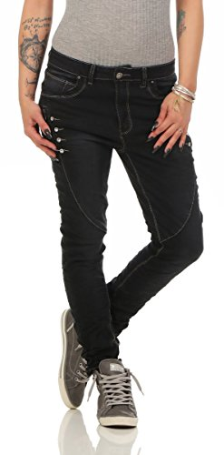 Turquoise Femme 38 schwarz Dcontract 4 Fashion4Young Jeans turquoise q6xzSw7