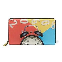 Alarm Clock Clock Numbers Themes Leather Clutch Purse Long Wallet Handbag Card Holder
