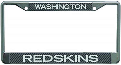 Washington Redskins Laser License Plate - Washington Redskins Carbon Fiber Design LASER FRAME Chrome Metal License Plate Tag Cover Football
