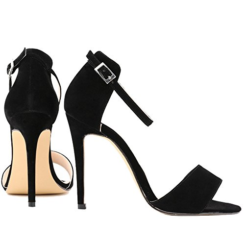 Stiletto Schwarz Ankle Dayiss strap Damen Sandals Sommer Toes Buckled Party Simple Peep w6xAYqPx7