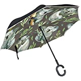 senya Double Layer Inverted Umbrellas Watercolor Grey Koala Folding Umbrella Windproof UV Protection for Car Use Rain Outdoor With C-Shaped Handle