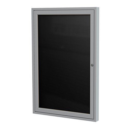 Ghent 36''x24'' 1-Door Satin Aluminum Frame Enclosed Flannel Letterboard - Black - Made in the USA by Ghent