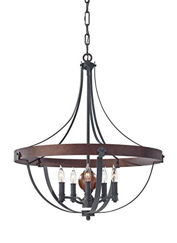 Acorn Finish Chandeliers (Feiss F2794/5AF/CBA Alston 5 - Light Single Tier Chandelier in AF/CHARCOAL BRICK/ACORN)