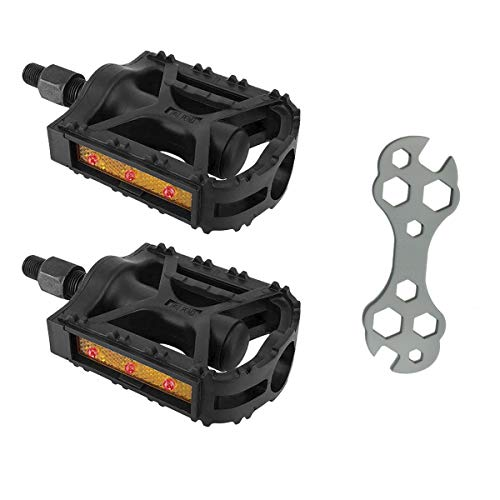 Flashing Red LED Night Time Reflective Safety Bike Bicycle Black 1/2 Inch Pedals - Waterproof - Pedal Wrench Included - Fits Most Beach Cruisers, Single Speed, and Childrens Bikes Single Crank Bikes
