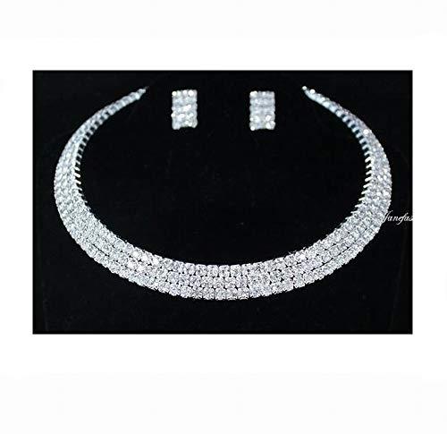Janefashions 3-row Three Row Clear Austrian Rhinestone Crystal Shiny Choker Collar Necklace Earrings Set Party Wedding N0561 Silver ()