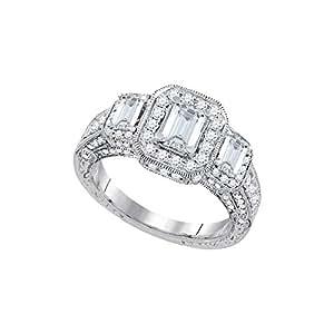 Roy Rose Jewelry 14K White Gold Womens Emerald Diamond 3-stone Bridal Wedding Engagement Ring 2 Carat tw ~ Size 11