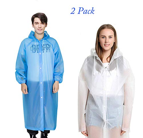 Emergency Rain Ponchos, Thick Rain Poncho with Drawstring Hood Rain coat for Men Women Adults, Waterproof Rain Poncho for Outdoors, Theme Parks, Hiking, Camping, School Sporting Activity - 2 Pack