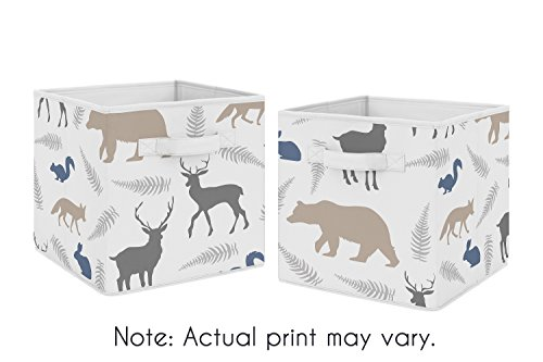 Blue and Grey Woodland Animals Foldable Fabric Storage Cube Bins Boxes Organizer Toys Kids Baby Childrens for Collection by Sweet Jojo Designs - Set of 2 by Sweet Jojo Designs