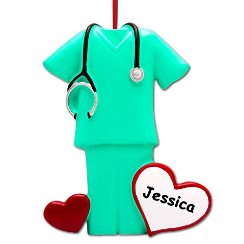 Scrubs Ornament - The Trendy Turtle Personalized Scrubs Nurse Christmas Tree Ornament with Custom Name