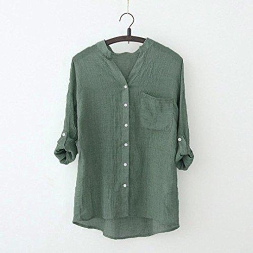 Stand Unita Coreana A Collare Camicetta Lunghe Camicia Maglia Solido Verde Donna Da Tinta Maniche Top Casual p7xERR