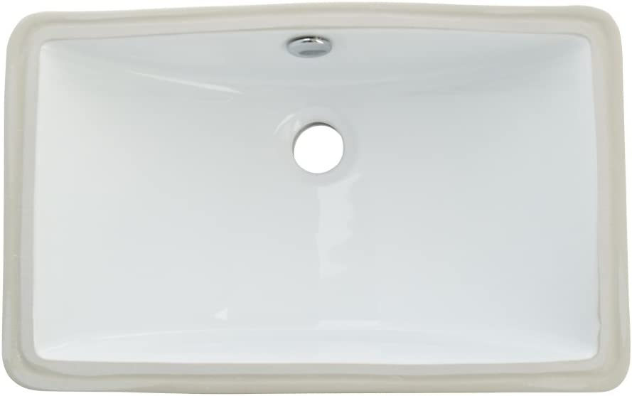 Kingston Brass LB18127 Fauceture Courtyard Undermount Bathroom Sink with Overflow, White