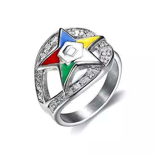 Nattaphol Fashionable Order of Eastern Star Rings 316L Stainless Steel Silver Color Enamel Masonic OES Charm Rings for Men and Women (8)