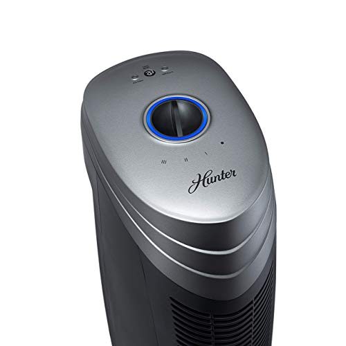 Hunter HT1701 Air Purifier with ViRo-Silver Pre-Filter and HEPA Filter, for Allergies, Germs, Mold, Dust, Pets, Smoke, Pollen, Odors, for Large Rooms, 27-Inch Titanium Black Air Cleaner