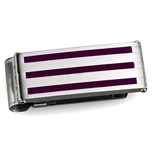Silver Design Stainless Tone Polished Clip Purple Stripe Money Steel with High nx6nv4wZUr