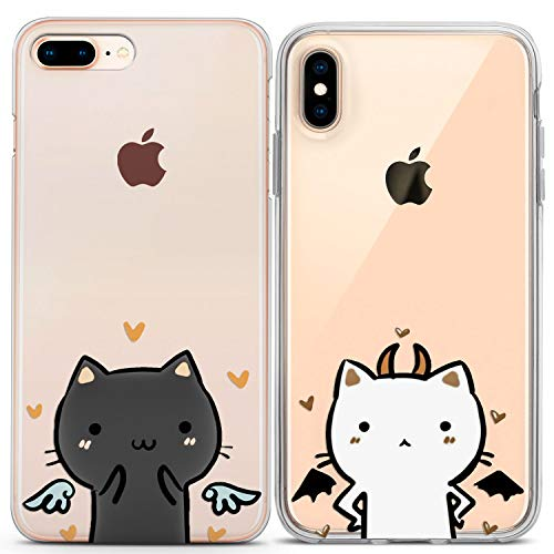 Lex Altern Couple iPhone Case Xs Max X Xr 10 8 Plus 7 6s 6 SE 5s 5 TPU Clear Apple Girlfriend Phone Cat Cover Anniversary Angel Print Devil Protective Matching Kawaii Silicone Friends Love]()