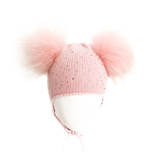 Merino Mohair Lace (Girl's Pink Knitted Woolen Beanie Rhinestone Caps with Two Fox Fur Pompoms)