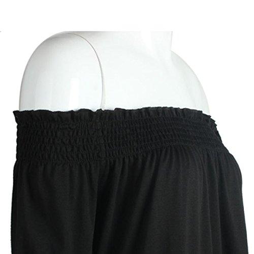 Sannysis Damen trägerloses Langarm-Shirt (S, Schwarz)