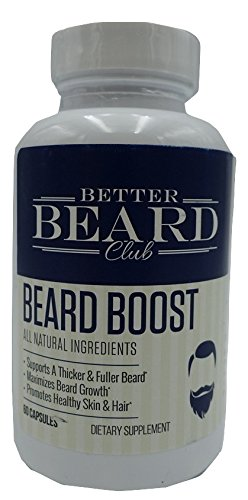 Better Beard Club- Beard Boost- All Natural Premium Beard Supplement- Supports Thicker and Fuller Beard, Maximizes Beard Growth, Promotes Healthy Skin and - Maximize Testosterone